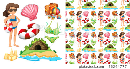 Set of seamless background design with isolated 56244777