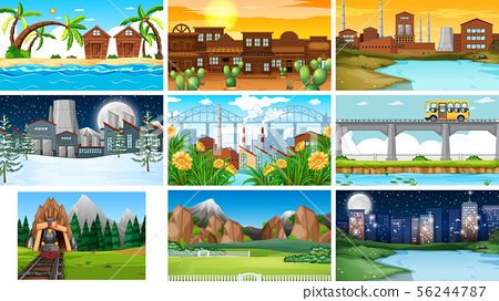 Set of scenes in nature setting 56244787