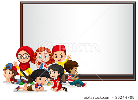 Banner template design with kids and whiteboard 56244789