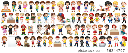 Children with different nationalities on white 56244797