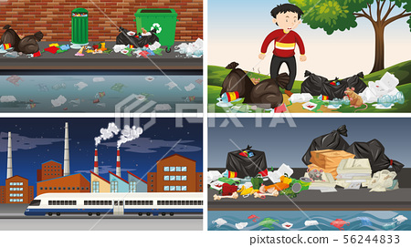 Set of polluted scenes 56244833