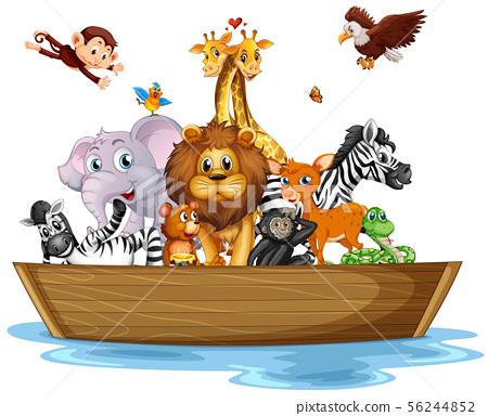 Many wild animals on rowboat 56244852