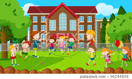 Active kids playing in outdoor scene 56244856