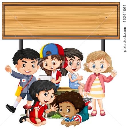 Banner template design with children under wooden 56244865