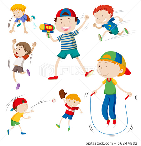 Boys playing different things on white background 56244882