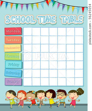 School time table with happy children 56245054