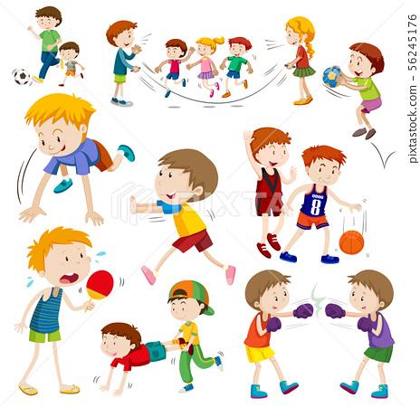 Happy children in different actions 56245176