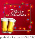 Christmas card with lights and beer 56245232
