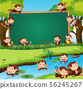 Border template design with cute monkeys in the 56245267