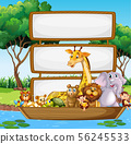 Border template design with cute animals 56245533