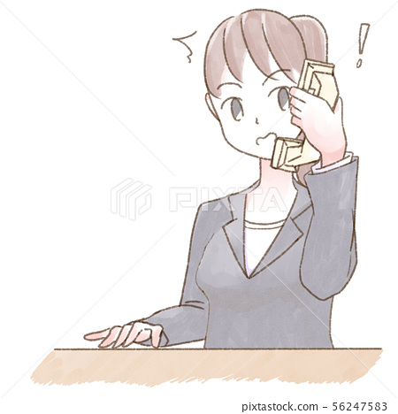 Watercolor person deskwork woman surprised 56247583