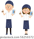Pop tavern clerk man and woman pointing with mobile phone 56250372