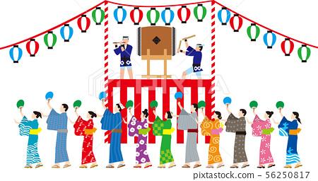 윤무. 일본의 전통 행사. 벡터 소재 56250817