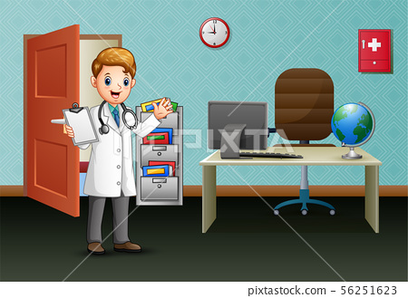 Young doctor is in with his office 56251623