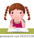 Cute girl thinking while working on her school 56252538