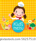 Design of kids menu with smiling girl chef 56257510
