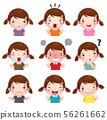 Cute girl faces showing different emotions 56261662
