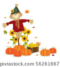 Autumn harvesting with cute scarecrow and pumpkins 56261667