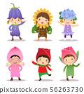 Cute kids wearing flowers costumes 56263730