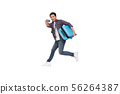 Young Asian man jumping with suitcase and card 56264387