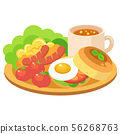 Illustration of morning plate (breakfast set of salad, scrambled eggs, wiener, tomatoes, eggs, bread) 56268763