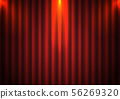 Red curtain background with spotlight in theater. 56269320