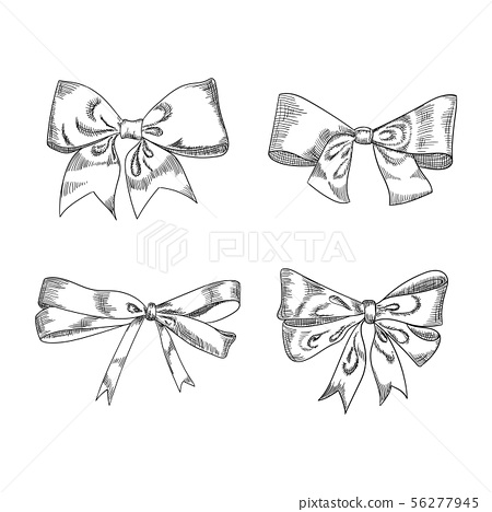 Bow sketch isolation on a white background, vector illustration. 56277945