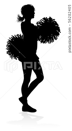 Cheerleader Silhouette Stock Illustration 56282405 Pixta Group of cheerleaders silhouetted in black and white. pixta