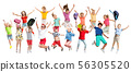 Group of elementary school kids jumping, back to school 56305520