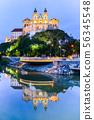 Melk Abbey, German: Stift Melk, reflected in the water of Danube River by night, Wachau Valley 56345548