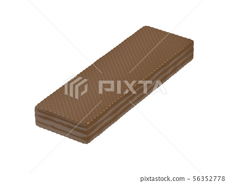 Chocolate wafer on white background. 56352778