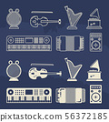 Line and silhouette classic music instruments icons 56372185