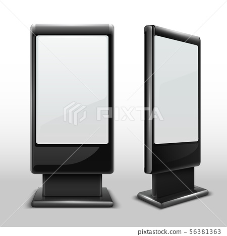 Blank interactive outdoor kiosk. Digital tv standing touch screen isolated vector mockup 56381363