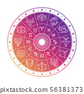 Colorful astrology circle design with horoscope signs isolated on white background 56381373