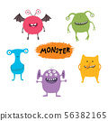 Set of cute different cartoon monsters, elements for your design, prints and banners. Monster 56382165