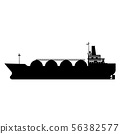Icon Gas tanker LNG carrier natural gas. Carrier ship. Vector illustration isolated flat design 56382577
