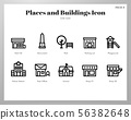 Places and buildings icons Line pack 56382648
