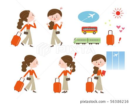 여행하는 여성 56386216