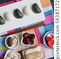 한국의 전통음식 한과, 송편, 모듬한과, 대추, 깨강정, 사탕 56387172