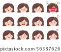 여러가지 표정의 여자 56387626