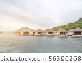 House floating raft in river kwai with morning 56390268