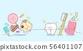 cute cartoon tooth health concept 56401107