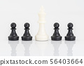 Black and white chess pieces on white background 56403664