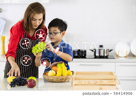 Asian family with icons about bacteria.. 56414906