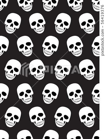 Skull seamless pattern on black background. 56419376