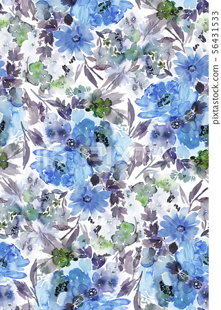 Seamless summer pattern with watercolor flowers 56431533