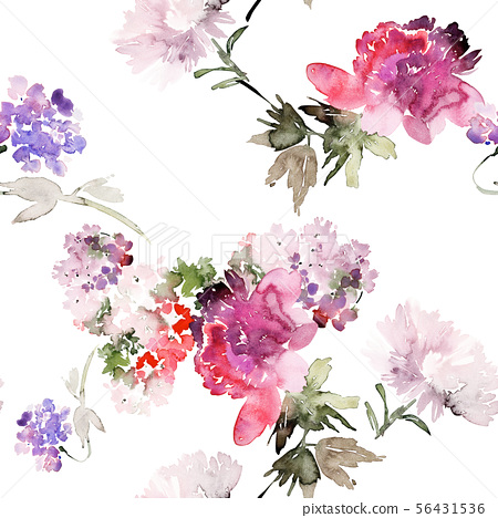 Seamless summer pattern with watercolor flowers 56431536