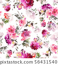 Seamless summer pattern with watercolor flowers 56431540