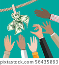 Wet dollar bills hanging on rope 56435893