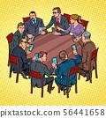 businessmen meeting man and woman. smartphones gadgets technology 56441658